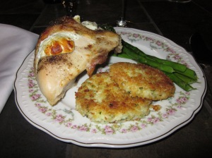 Stuffed Chicken, Chive Risotto Cakes, Roasted Asparagus