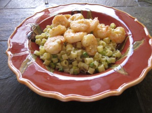 Asparagus and Fennel Pasta Salad with Roasted Shrimp