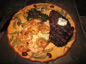 Roasted Shrimp, Bison Rib-eye, Risotto, and Chard