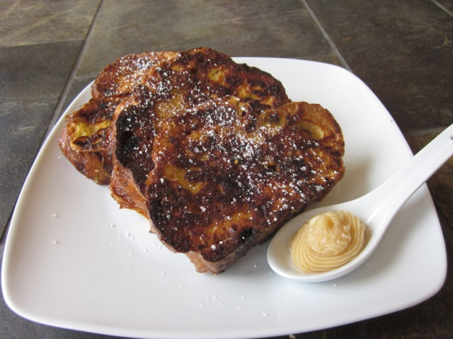 Perfectly grilled french toast with cinnamon honey butter