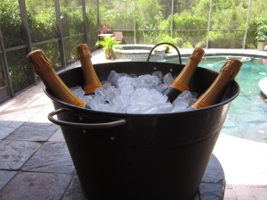 Bucket of Veuve getting to the right temperature.