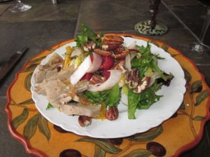 Roasted Duck, Endive, Field Green, and Fruit Salad with Pecans