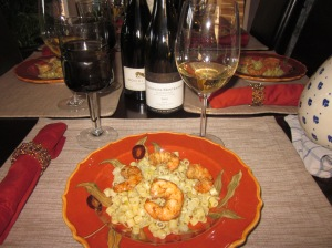 Fennel-leek ditalini salad with oven-roasted shrimp.
