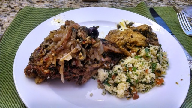 Moroccan-Spiced Chicken and Apricot-Mint Couscous