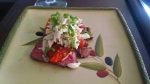 Spicy Crab Salad on top of Filet Mignon